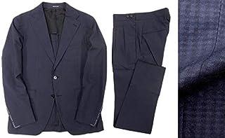 [タリアトーレ] イタリア製 三者混 サマーウール シアサッカー シャドーチェック柄 セットアップ シングルスーツ 46 7R ka20180717-11 メンズ