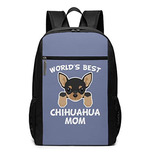World's Best Chihuahua Mom Laptop Computer Backpack Business Stylish Casual Travel Bags 17 Inch
