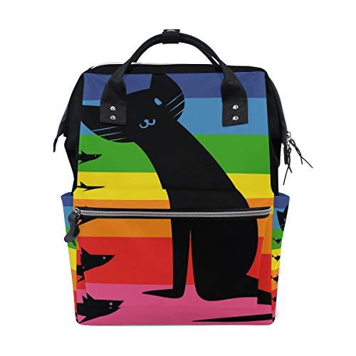 Malplee Wickeltasche Regenbogenschwarz Katze und Fisch, Schultasche Reiserucksack