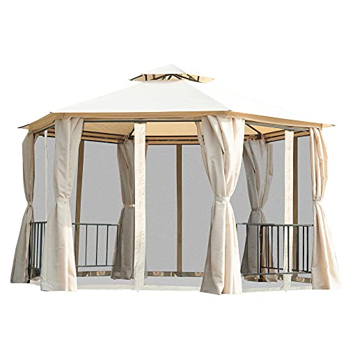 Outsunny 6.6' 2-Level Hexagon Outdoor Patio Gazebo Canopy Pavilion with Removeable Mesh Curtains, Double Tiered Roof, UV Protection, & Large Floor Space