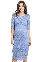 blue flapper maternity dress with bow