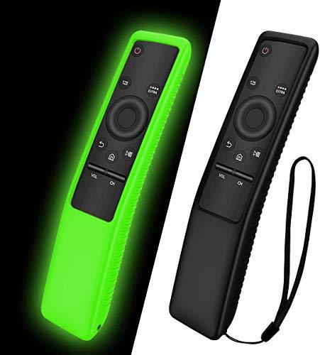 NANTING Custodia protettiva in silicone 2PCS per telecomando Samsung Smart TV serie BN59,adatto per custodia in silicone per bambini,cinturino antiscivolo antiurto e anti-smarrimento(Nero+Verde)