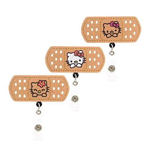 YOROYAL かわいい猫バッジリール ワニクリップ 格納式IDバッジホルダー 3個パック
