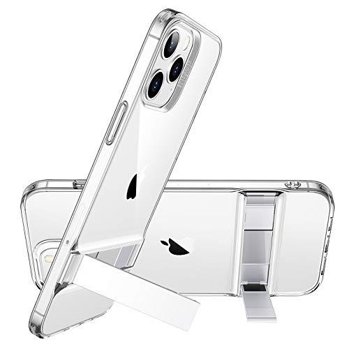 ESR iPhone12Pro Max 用 ケース メタルキックスタンド 透明 tpuカバー 縦置き 横置き対応 ソフト クリア