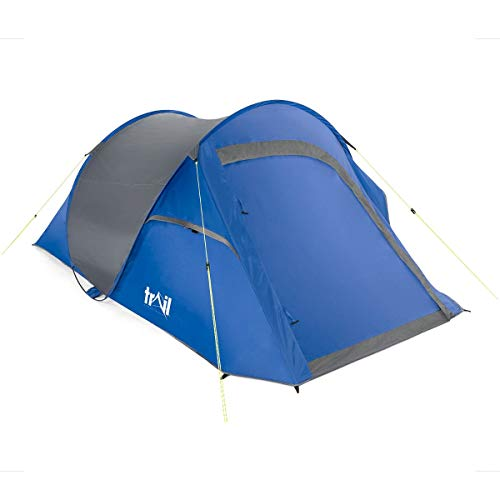 trail outdoor leisure 2 Man Pop Up Tent Waterproof at 2000mm HH Double Skin Camping Festival (Blue)