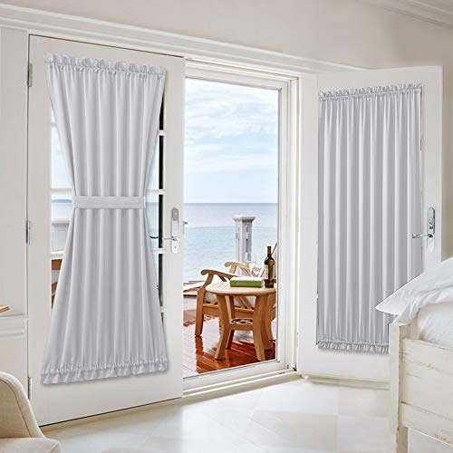 NICETOWN Room Darkening Patio/Sliding Glass Christmas Decotation Front Door Curtains - Blackout Thermal French Door Curtains (54' Width x 72' Length, Greyish White, 1 Panel)