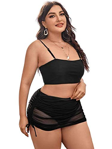 Plus High Waisted Bikini Swimsuit & Drawstring Cover Up - Swimsuit for Women