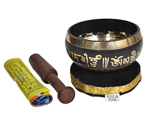 SATNAM - Tibetan Brass Meditation Singing Bowl Set for Relaxation and Healing - With Traditional Design comes with Wooden Striker and Cushion - Handmade in Nepal