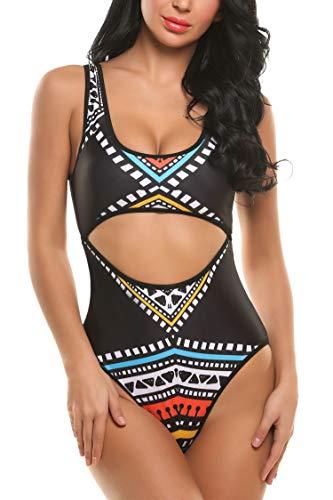 Ekouaer Women Padded Hollow Out Keyhole Print One Piece Swimsuit Swimwear (Black2, XL)