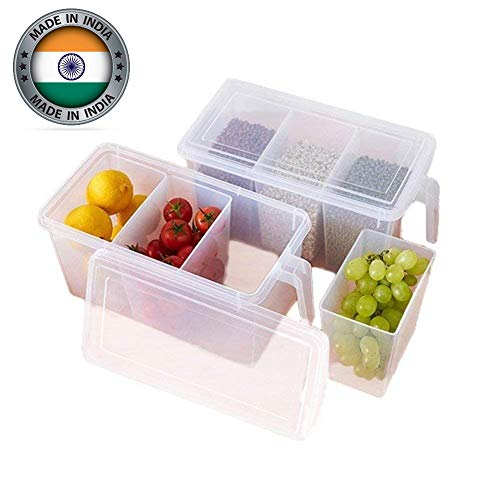 Cartburg Plastic 3 Part Refrigerator Fruit/Vegetable Basket,Organizer,Container Square Handle Food Storage Boxes,Clear with Lid, Handle and 3 Smaller Bins White Set of (1)