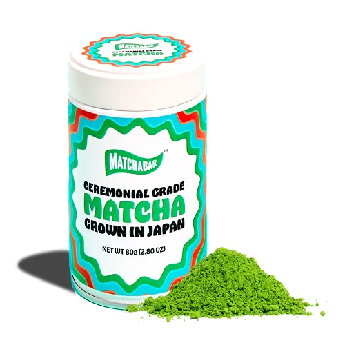 MATCHABAR Ceremonial Grade Matcha Green Tea Powder (80g Tin) | Premium, First Harvest Authentic Japanese Matcha | Healthy Antioxidants, Natural Energy, and Amino Acids | For Perfect Matcha Latte Blend