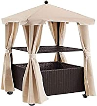 Crosley Furniture CO7304-BR Palm Harbor Outdoor Wicker Rolling Towel Valet with Sand Cover, Brown