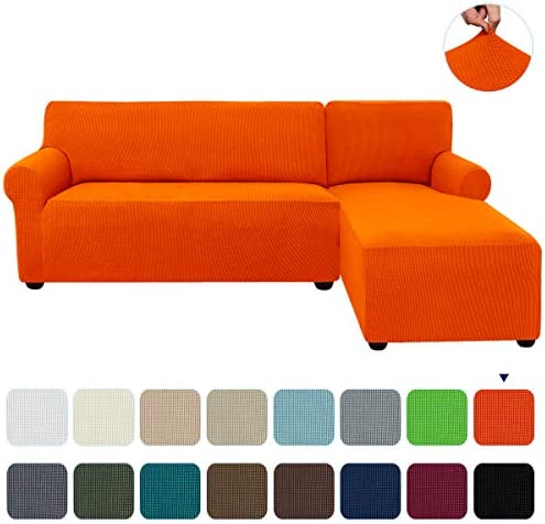Best subrtex 2-Piece L Shape Sectional Sofa Slipcovers with Right Chaise Sleeves Jacquard High Stretch Fu
