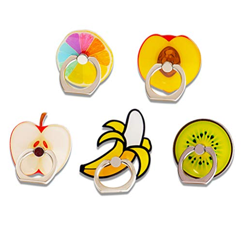 UnderReef Phone Holder Stand, Fruits Cell Phone Ring Holder 360 Rotation Hand Grip Stand Desk Car for iPhone Samsung Smartphone Tablet 5 Packs (Colorful Orange Peach Apple Banana Kiwi)