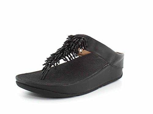 Fitflop Rumba Toe-Thong Sandals, Sandalias de Punta Descubierta Mujer, Negro (Black 001), 41 EU