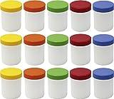 15 Salbendöschen, Creme-döschen, Salbenkruke hoch, 60ml Inhalt mit farbigen Deckeln - Made IN...