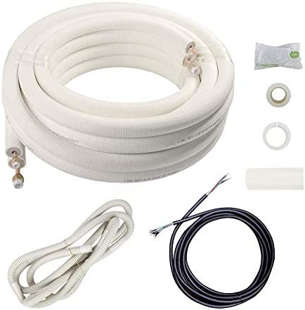 Wostore 25 Ft Copper Pipes 1 4 1 2 Inch 3 8 PE for Mini Split Air Conditioner Insulated Coil product image