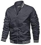 TACVASEN Bomber Jackets for Men Spring Fall Slim Fit Windbreakers Coats Jackets Grey, M