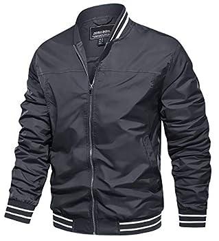 TACVASEN Bomber Jackets for Men Spring Fall Slim Fit Windbreakers Coats Jackets Grey XL