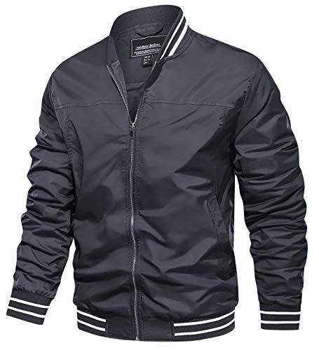 TACVASEN Bomber Jackets for Men Spring Fall Slim Fit Windbreakers Coats Jackets Grey, XL