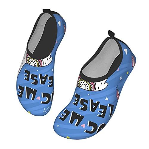 Nicokee Lama con texto en inglés Zapatos de agua abrazarme por favor dibujos animados animales Guanaco corazón romántico playa Aqua Yoga calcetines para hombres mujeres, color, talla 41.5 EU