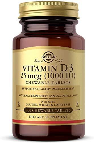 Solgar Vitamina D3 1000 UI (25 µg) Comprimidos masticables - Envase de 100