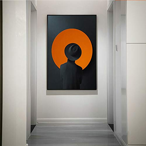 GUDOJK muurschilderij schilderij schilderijen wandafbeeldingen abstracte man in hoed figuur schilderij kunstdruk poster decoratie voor woonkamer muurkunst 50x70cm(20x28inch)
