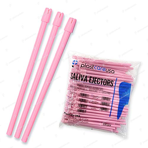 1000 Dental Disposable Saliva Ejectors, Pink Body Pink Tip, Evacuation Suction Tips, 10 Bags