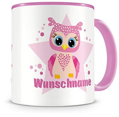Samunshi® Kindertasse mit Namen große rosa Eule Tasse Personalisierte Tasse mit Namen Kinder Kinderbecher mit Namen Kindergarten rosa 300ml