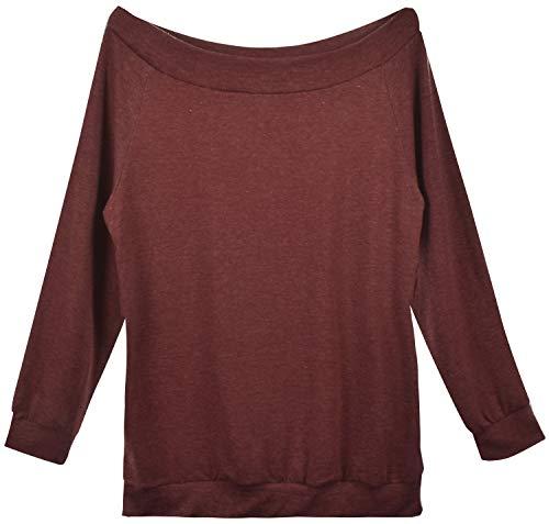 Yuson Girl Casual CamisetasMangaLargaMujer CamisaMujer Fuera del Hombro RopadeMujer Sexy Suelto Mujer Ocasionales Flojas Atractiva Elegante Moda (Vino Tinto,XL)