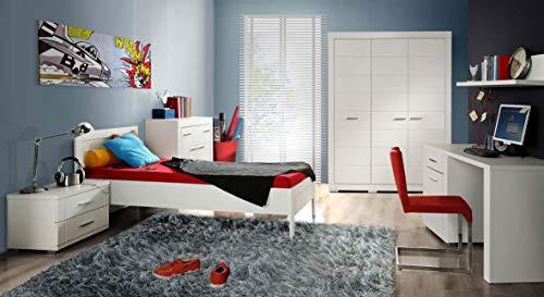 Jugendzimmer Snow Komplett-Set 6-TLG. Bett 90 cm Weiß matt, von Forte