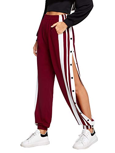 SOLY HUX Damen Hosen Sweatshose Jogginghose Streifen Sweatpants Elastisch Bund Crips Hose Laufenhose mit Taschen, Knöpfe Bordeaux L