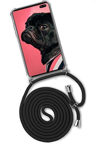 ONEFLOW Handykette 'Twist Hülle' Kompatibel mit Samsung Galaxy S10 Plus - Hülle mit Band abnehmbar Smartphone Necklace, Silikon Handyhülle zum Umhängen Kette wechselbar - Schwarz