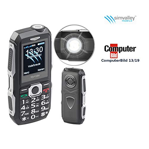 Simvalley Mobile Baustellenhandy: Stoßfestes Outdoor-Handy, Dual-SIM-Funktion, Bluetooth, FM-Radio, IP67 (Outdoor Handys)