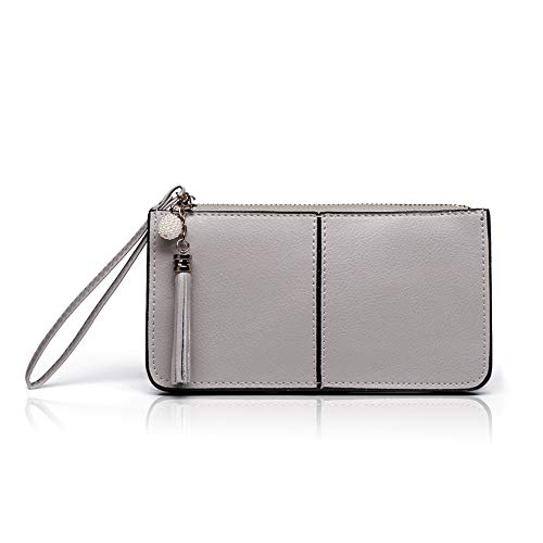 Befen Soft Leather Wristlet Phone Wristlet Wallet Clutch Tassels Wristlet with Exquisite Tassels/Wrist Strap/Card slots/Cash pocket- Fit iPhone 6 Plus/Samsung Note 5-Gray