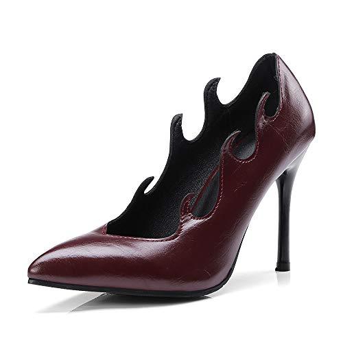 Zapatos De Tacón para Mujer,9.5Cm PU Forma Única Sexy Asakuchi Señaló Court Shoes,Fiesta De Bodas Clubbing Vestido De Noche Bombas De Tacón De Aguja Alto Tallas Grandes,Wine Red,40 EU/6.5UK