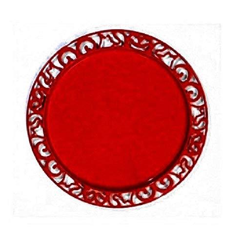 Adiserve 4 sous-Assiettes réutilisables Rondes 30 cm Rouge Carmin