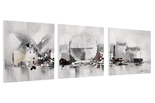 Kunstloft® Cuadro en acrílico 'Corazón de la Ciudad' 120x40cm | Original Pintura XXL Pintado a Mano sobre Lienzo | Tríptico Abstracto Plateado/Gris | Cuadro acrílico de Arte Moderno con Marco