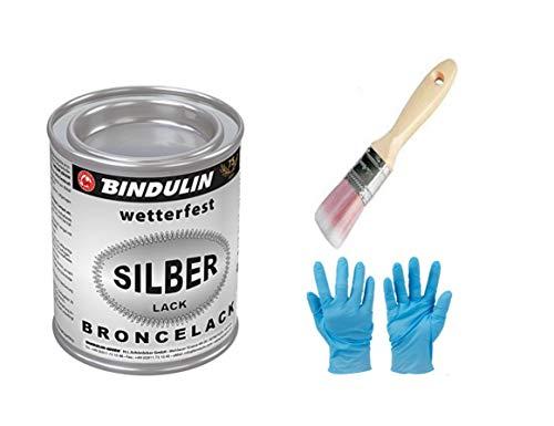 Silberlack wetterfest 125 ml Dose Farbe: silber inkl.1 Pinsel zum Auftragen von E-Com24