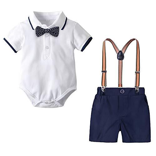 Yilaku 4tlg Babykleidung Set Baby Jungen Kleidung Kurzarm Body Strampler + Hose + Fliege Kleinkinder Neugeborene bekleidungsset