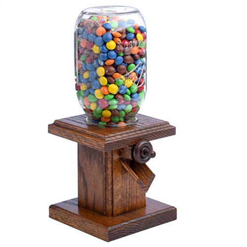 Handcrafted Amish Wooden Candy Dispenser Glass Jar Solid Oak Wood M&M's, Peanuts, Reese's Pieces, Skittles, Jelly Beans, Runts (Sorrel)
