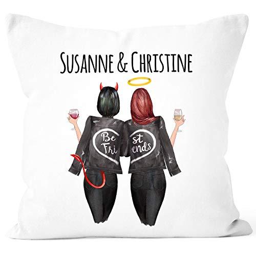 SpecialMe® Kissen-Bezug Beste Freundin personalisierbares Geschenk mit Namen Freundschaft Best Friends weiß 40cm x 40cm