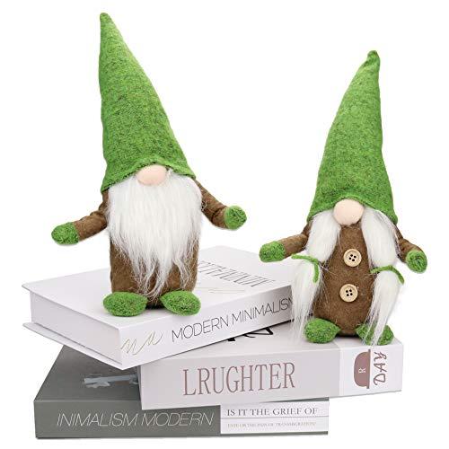 2 pack St. Patrick's Day Gnome decoration, Leprechaun Swedish Elf Dwarf Ornaments Set, Green Handmade Irish Scandinavian Nisse Tomte Doll Dwarf for Saint Paddy's Day Valentine's Day gift Home