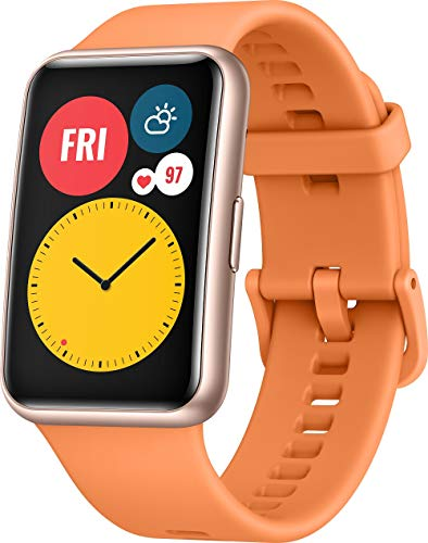 HUAWEI WATCH FIT Smartwatch, 1,64 Zoll AMOLED-Display, Quick-Workout-Animationen, 10 Tage Akkulaufzeit, 96 Trainingsmodi, GPS, 5ATM, SpO2-Sensor, Herzfrequenzmessung, Cantaloupe Orange