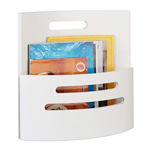 Relaxdays Portariviste con Manico, Salotto, Design Moderno, Organizer in Legno per Giornali, 39 x 40 x 17,5 cm, Bianco, 1 Pezzo