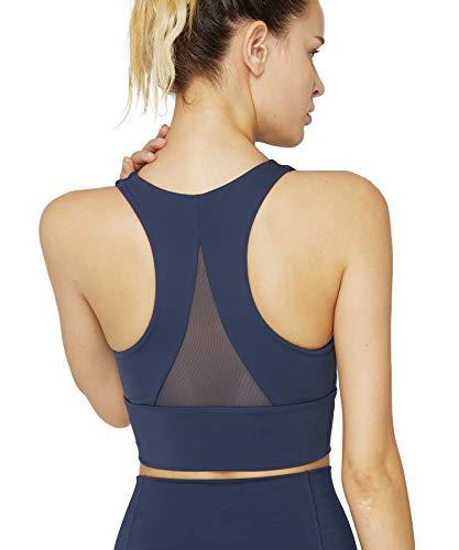 light & leaf Crop Sports Bra High Impact Longline Yoga Workout Bra Running Gym Navy Blue