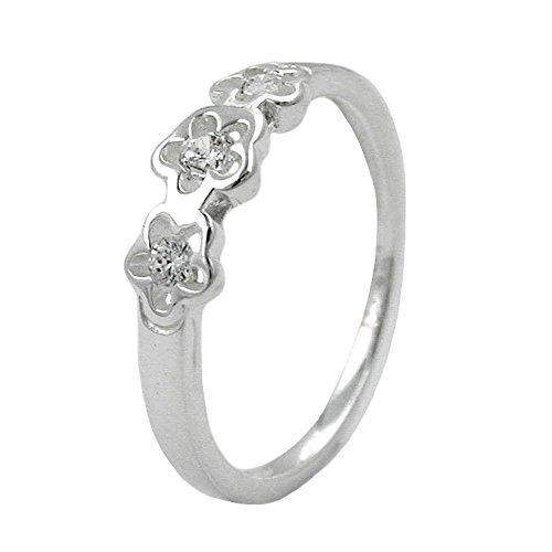Anello bambini anello con zirconi 3fiori in argento Sterling 925dimensioni 48per bambini