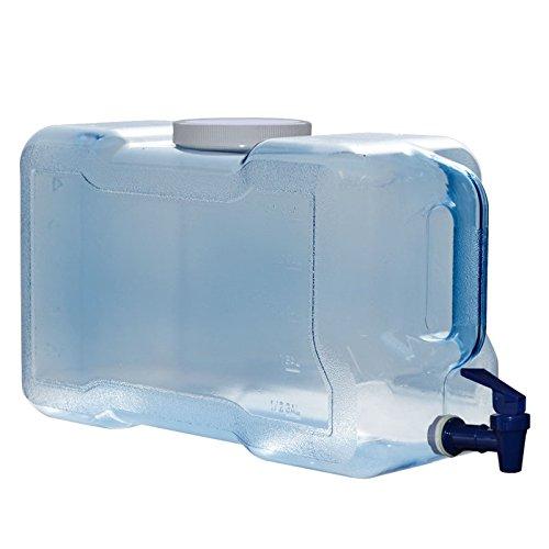 3 Gallon 11.36 Liter Long Refrigerator Bottle Drinking Water Dispenser w/Faucet BPA Free - Blue - 100mm Screw Cap 15.625' x 6.5' x 9'