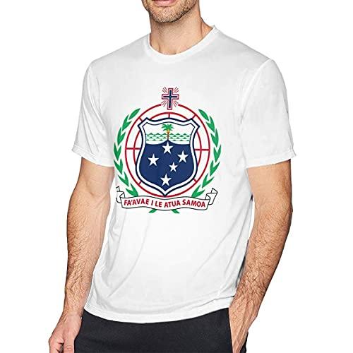 shenguang Camiseta de algodón de Manga Corta con Emblema Nacional del Escudo de Armas de Samoa para Hombre