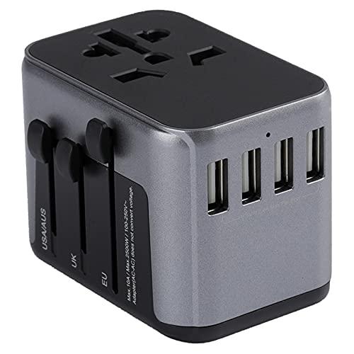 ZXTQW Adaptador de Viaje 4 USB Todo en un Adaptador de Cargador para Viajar con UE US UK UAU Enchufe los enchufes del Cargador de Potencia de Viaje Universal Adaptador de Enchufe de Viaje